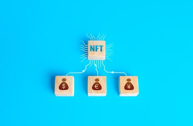 回線で接続されたnftの非代替トークンとお金をブロックしますデジタル資産とアートの販売