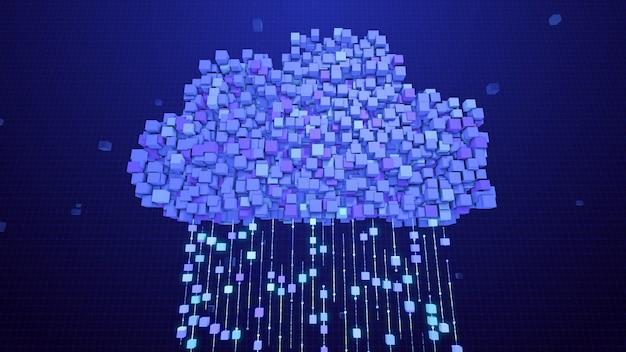 クラウドストレージデータベースサーバーの概念へのデータ転送のブロック、3dレンダリングの抽象的なデジタルクラウドコンピューティングネットワーク通信技術、ビッグデータのブロックチェーンインターネット接続ノード