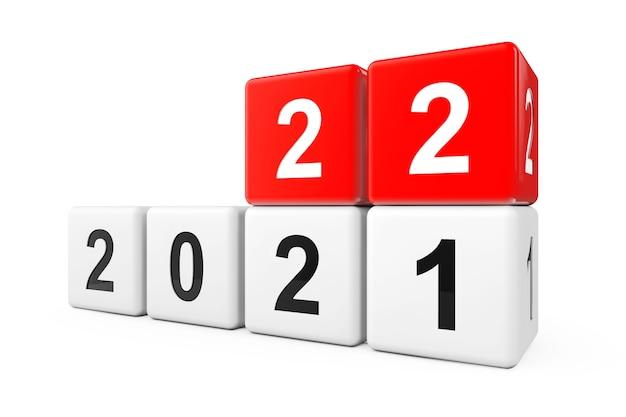 白地に2021年から2022年に移行するブロック。 3dレンダリング