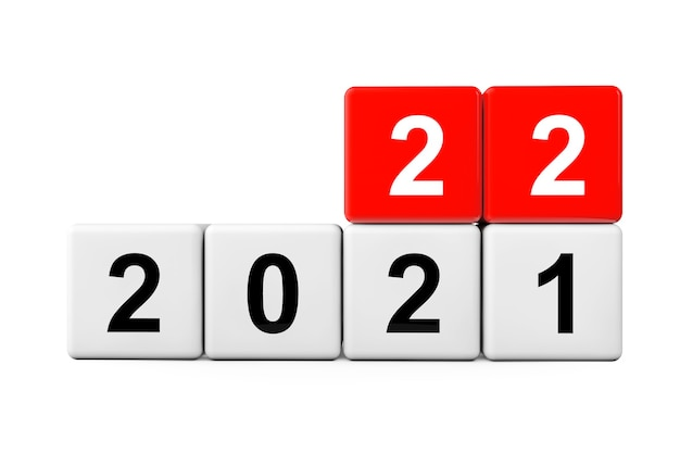 Blocks with the transition from year 2021 to 2022 on a white background. 3d rendering