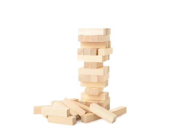 Blocks of wood isolated on white background. tower