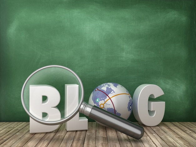 Blog 3d word with loupe on chalkboard background