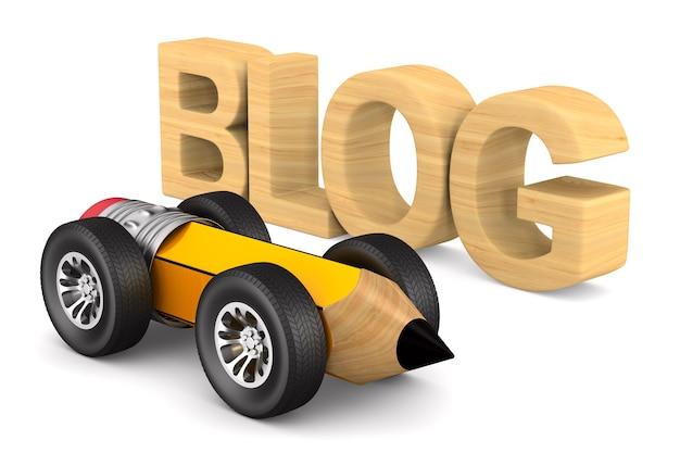 白地にブログと鉛筆