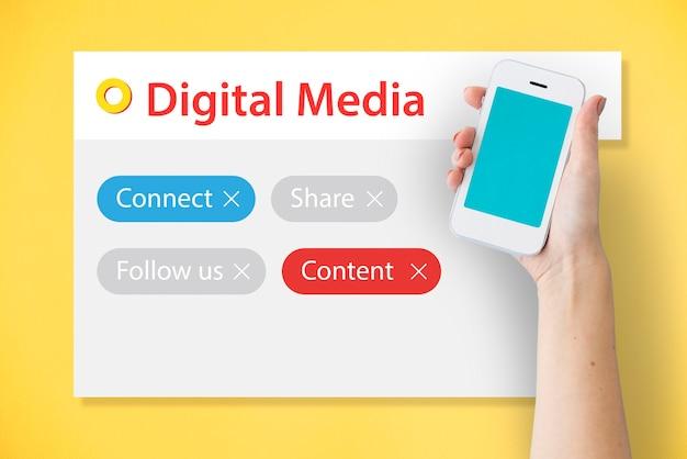 Blog online mettiti in contatto digital community media Foto Gratuite