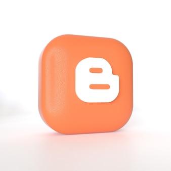 3d 렌더링이 포함 된 blogger 애플리케이션 로고