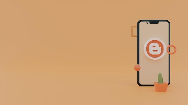 블로거 아이콘 소셜 미디어 응용 프로그램 3d 렌더링 로고