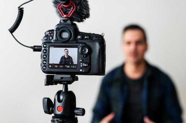 Blogger recording a video
