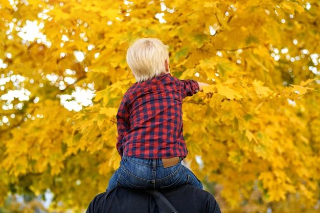 格子縞のシャツを着た金髪の少年が父親の肩に座っています。背面図。秋のコンセプト