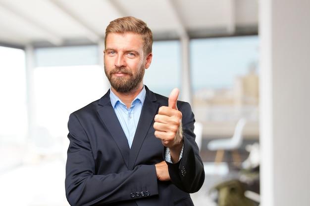 Blond businessman happy expression