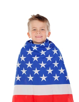 Blond child wrapped on american flag
