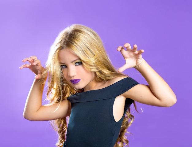 Blond children fashiondoll girl fashion makeup scaring