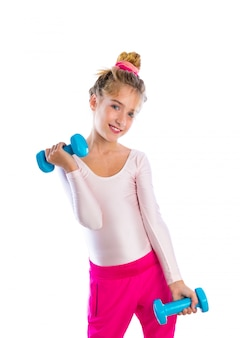 Blond fitness kid girls exercise dumbbells workout