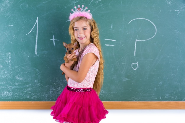 Blond princess schoolgirl pet chihuahua puppy
