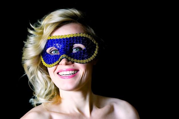 눈 구멍 금발 여자 블루 카니발 마스크