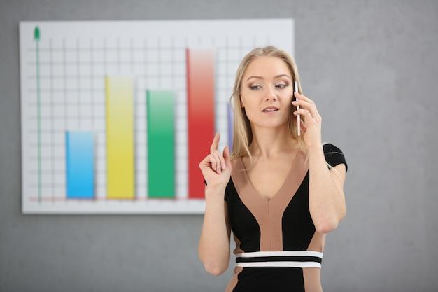 금발 여자 브로커는 증권과 통화를 사고 파는