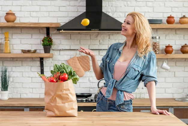 Blond woman in the kitchen