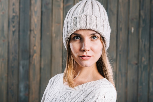 Blond woman in warm clothes