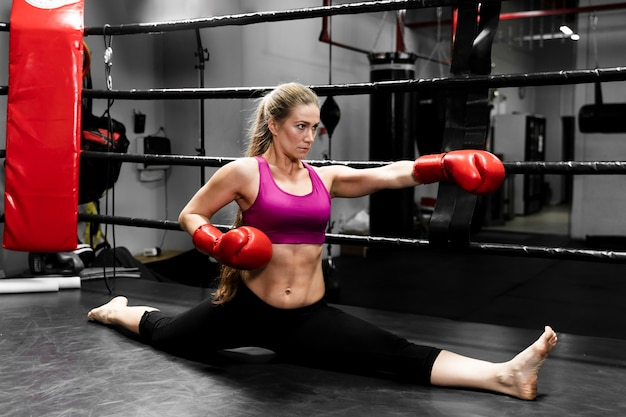 Blonde athletic woman training