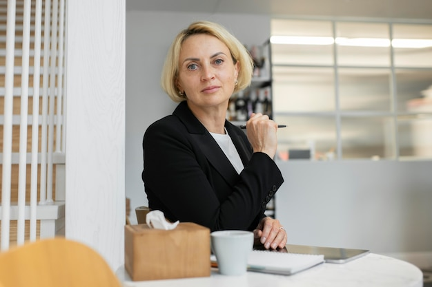 Blonde business woman at work