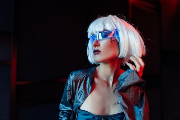 Blonde in cyberpunk style.