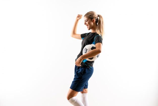 Blonde football player teenager girl