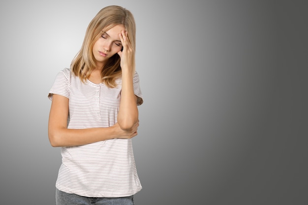 Blonde girl irritated and stressed