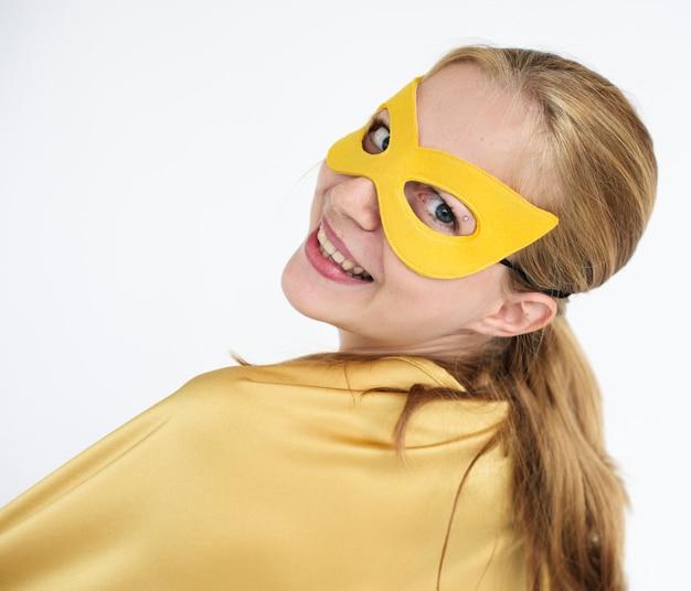 Blonde girl in superhero costume