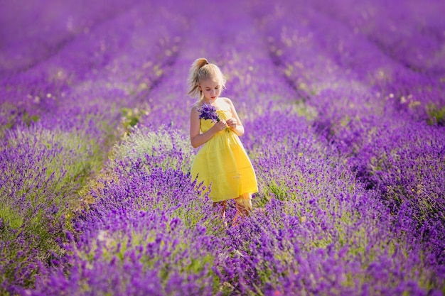Blonde girl in the yellowdress in the field of lavander with a small bouqet in her hands.