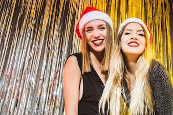Blonde girls at new year celebration