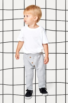 Blonde kids tee with sweat pants