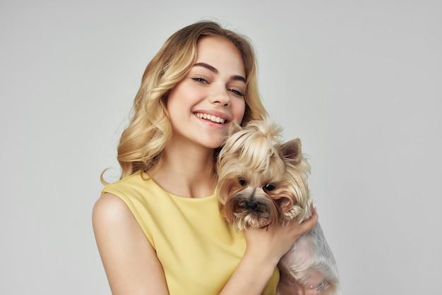 금발 애완 동물 포즈 패션 고립 된 배경