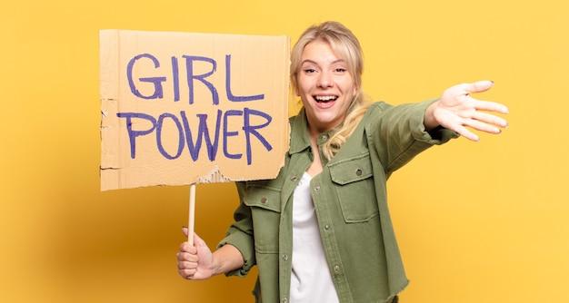 Blonde pretty woman girl power concept
