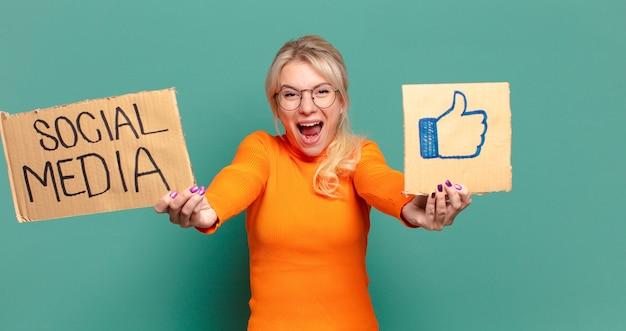 Blonde pretty woman social media like concept