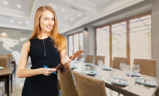 Blonde restaurant manager