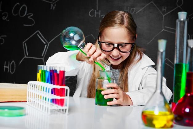 Blonde scientist in laboratory