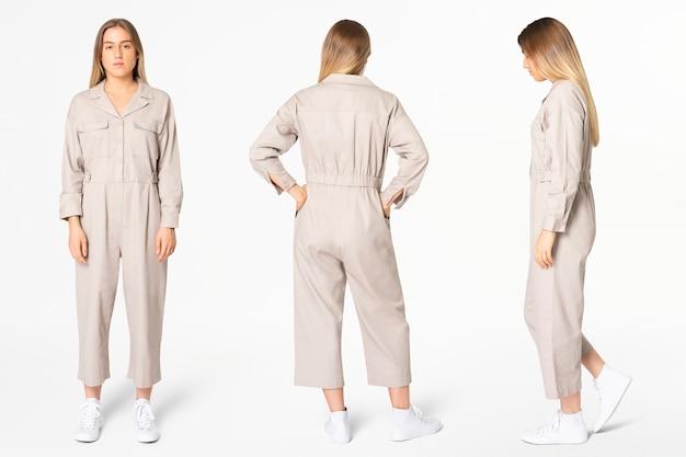 Donna bionda in tuta beige con set completo di abbigliamento streetwear spazio di design