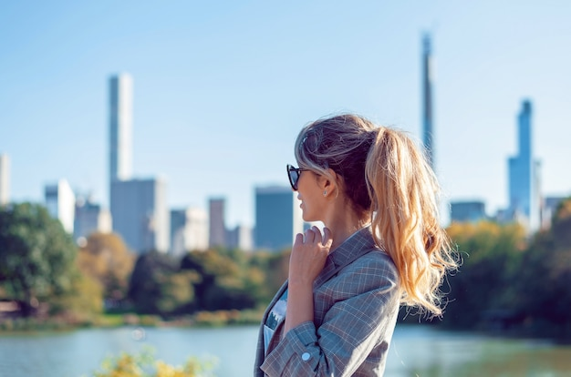 Blonde woman at central park in new york