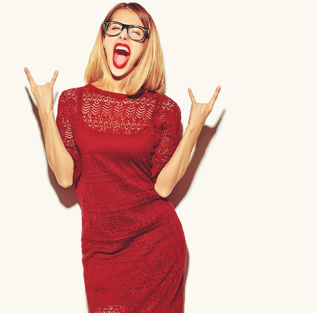 Blonde woman girl in red dress with glasses