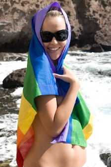Blonde woman in love with lesbian rainbow flat
