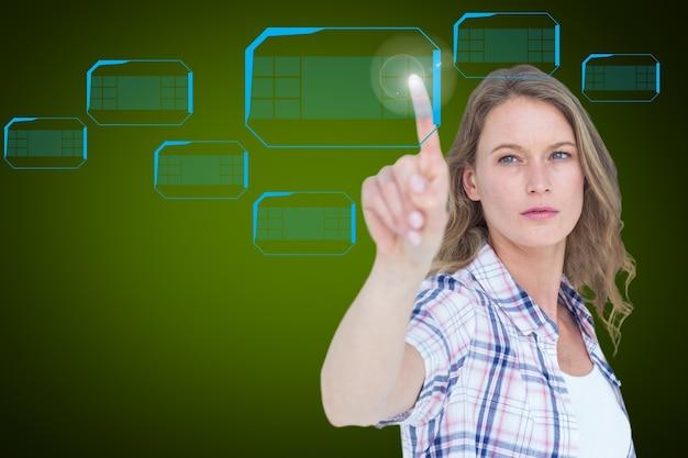 Blonde woman pressing a virtual screen
