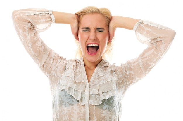 Blonde woman screaming