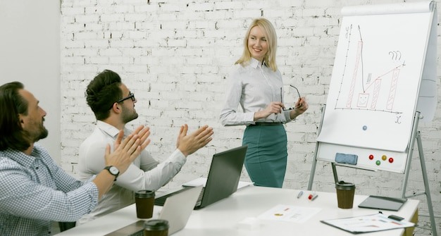 Blonde woman stands near white board with graphs and diagrams on it. male colleagues applaud to support her presentation.