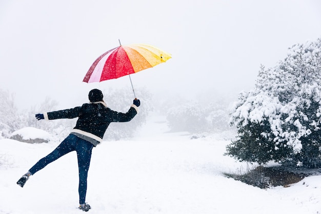 Blonde woman with a colorful umbrella being blown away by the wind with her umbrella snowy landscape.