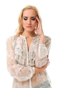 Blonde woman with worried expression
