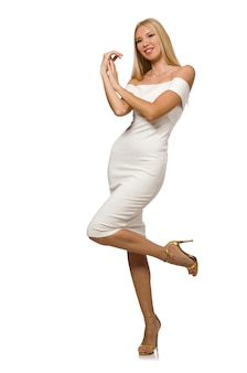 Blondie in elegant dress isolated on white