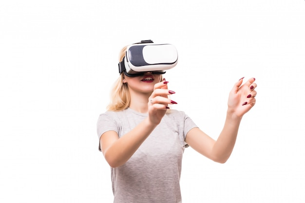 Blondie with red nails plays games in vr-glasses