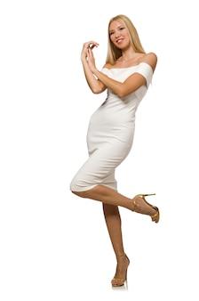 Blondie в элегантном платье на белом