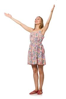 Девушка blondie кавказская в платье света лета изолированном на белизне