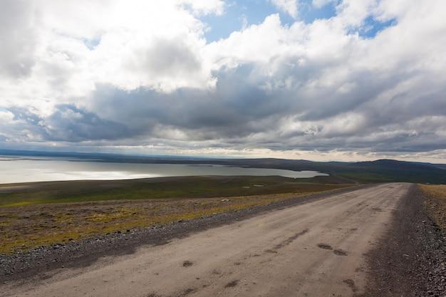 Blondulon lake view, highlands of iceland landscape. iceland panorama