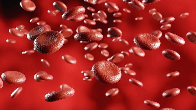 Blood cells moving flow, hemoglobin cells in vein, 3d rendering